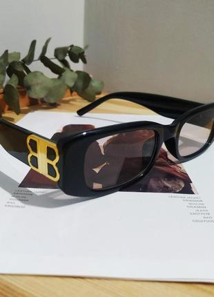 Тренд черные узкие очки солнцезащитные ретро новые окуляри чорні коричневі сонцезахисні6 фото