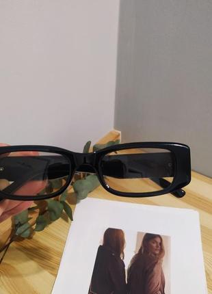 Тренд черные узкие очки солнцезащитные ретро новые окуляри чорні коричневі сонцезахисні4 фото