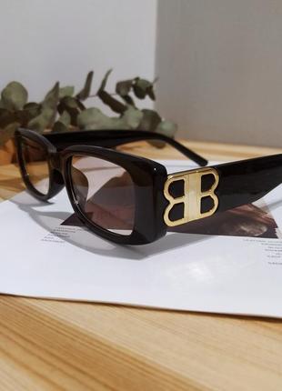 Тренд черные узкие очки солнцезащитные ретро новые окуляри чорні коричневі сонцезахисні7 фото