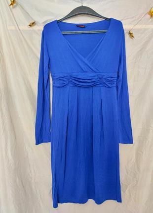 Синее трикотажное платье