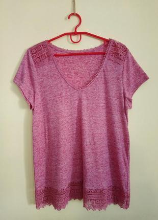Розовая футболка с кружевом george