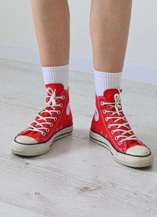 Красные кеды converse chuck taylor all star красные высокие кеды converse