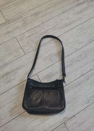 Маленькая черная кожаная сумочка visconti, натуральная кожа