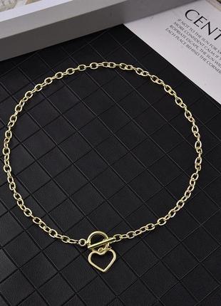 Модная цепочка цепь на шею с кольцом колье подвеска сердечко чокер ланцюжок кулон