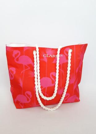 Пляжна сумочка в прінт фламінго