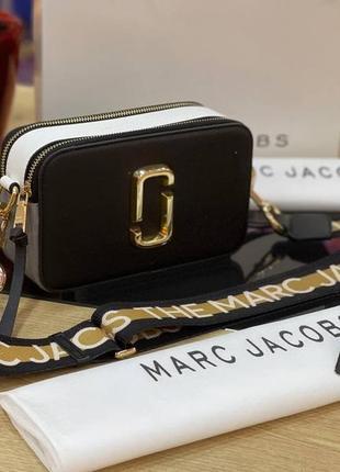 Сумка женская marc jacobs snapshot черная/белая (марк джекобс, рюкзак, клатч, кошелек, сумочка)