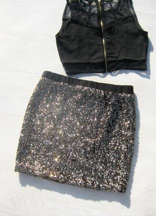 Мини юбка moss copenhagen блестящая с золотыми пайетками