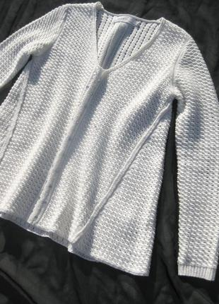 Свитер reserved белый вязаный расклешённый акрил шерсть