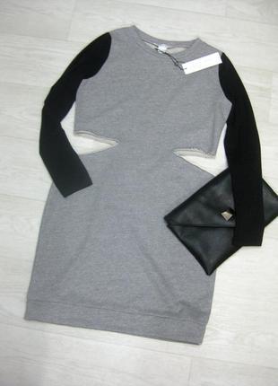 Платье glamorous серое с чёрными рукавами с разрезами на талии коттон