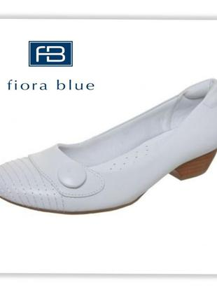 Fiora blue кожаные туфли на устойчивом каблуке
