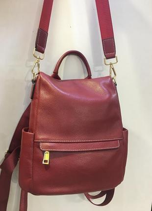 Кожаный женский рюкзак новый красный антивор отдел сзади