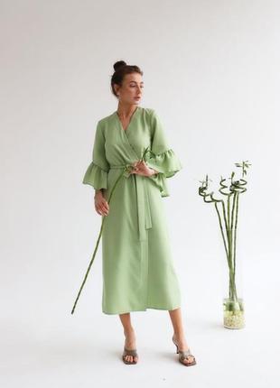 Изящное платье - кардиган на запах оливка