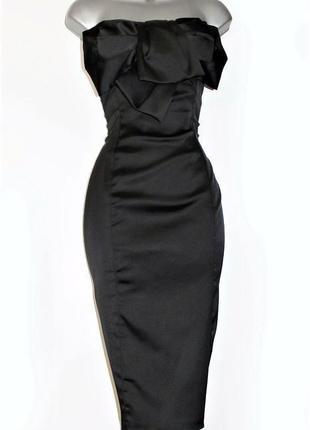 Премиум класс элегантное атласное платье без бретелек с бантом karen millen