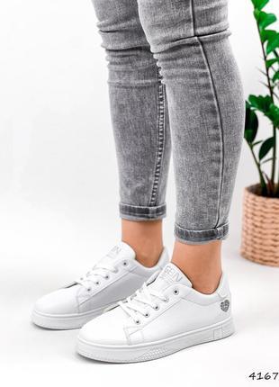 Кроссовки кеды женские lovar белый + серебро5 фото