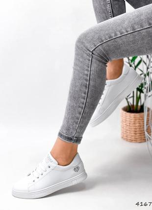 Кроссовки кеды женские lovar белый + серебро2 фото