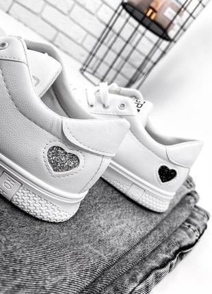 Кроссовки кеды женские lovar белый + серебро6 фото