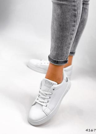 Кроссовки кеды женские lovar белый + серебро4 фото