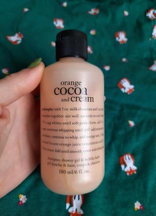 Philosophy orange cocoa and cream безсульфатный шампунь гель для душа пена для ванны натуральный шикарный аромат апельсин какао сливки