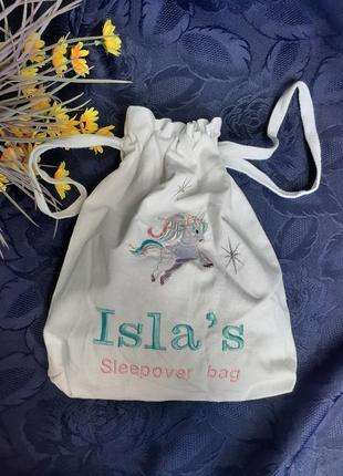 Isla's сумка мешок для пижамы нижнего белья аксессуаров косметичка 100% лен единорожка