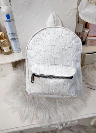 Рюкзак белый женский бренд кожаный кожа экокожа
