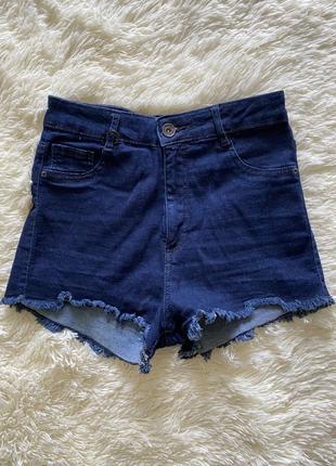 Джинсові шорти на високій посадці нові, одягала 1 раз 34-36 р. шорты джинсовые