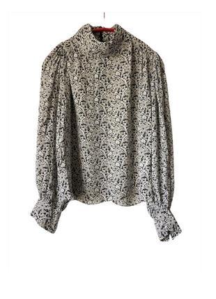 Блуза в принт с объёмными рукавами, zara