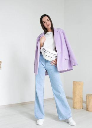 Трендовые широкие джинсы клеш палаццо голубые1 фото