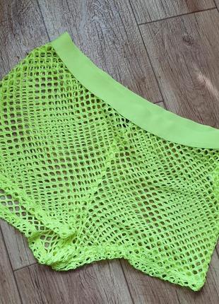 Пляжные шорты сетка яркие салатовые р 44 46