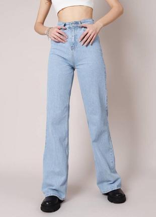Трендовые широкие джинсы клеш палаццо голубые3 фото