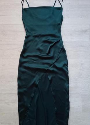 Лёгкий, длинный, изумрудный сарафан/ платье на тонких бретелях. nasty gal.