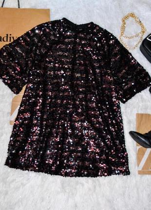 Платье свободного кроя от h&m в пайетки с вырезом на спине