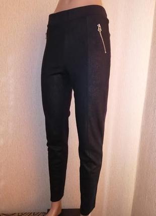 Стильные женские трикотажные укороченные черные лосины, штаны, леггинсы h&m