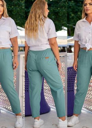 Льняные полубатальные брюки штаны