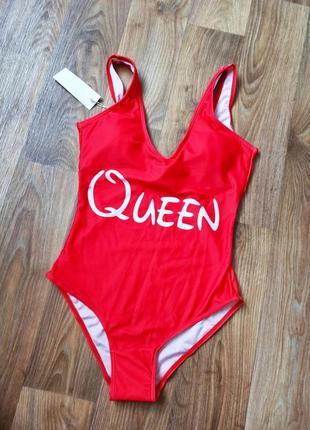 Красный сдельный/слитный/сплошной купальник queen с паралоновыми чашками/ вставками