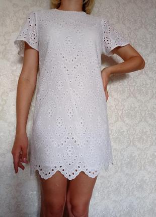 Белое платье zara 100%. коттон , прошва , s m