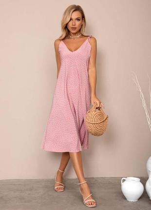 Нарядное розовое платье в горошек с открытой спинкой