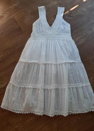H&m платье сарафан белый из натуральной ткани