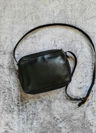 Черная кожаная сумка через плечо кросс боди  francesco biasia2 фото