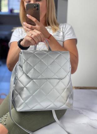 Новинка рюкзак стеганый много цветов серебряные оттенки