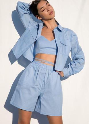 🍃льняной костюм с шортами и рубашкой голубой 4 цвета