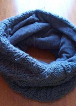 Зимний хомут,шарф, вязаный на флисовой подкладке, серый