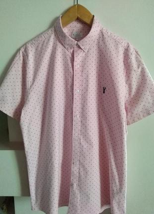 Стильная хлопковая рубашка next, размер 2xl, , большемерит на размер