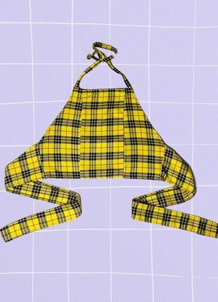 Желтый клетчатый топ с открытой спиной на завязках