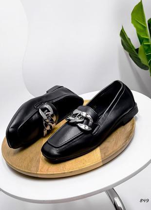 Женские туфли эко кожа чёрные
