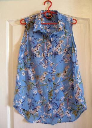 Летняя распродажа! удлиненная блуза в цветочный принт с перламутровыми пуговицами