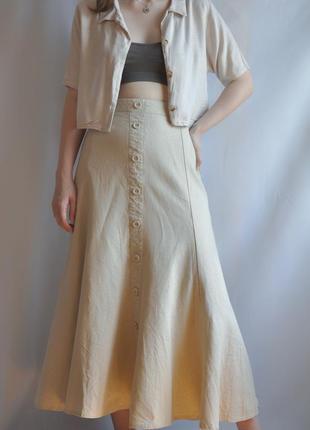 Юбка миди льняная песочная на пуговицах бежевая лён льон молочная белая натуральная винтаж bhs лёгкая