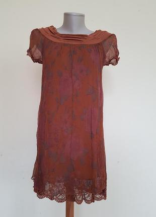 Классная итальянская блузочка шёлк с гипюром италия