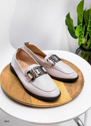 Туфли беж эко-кожа стильные