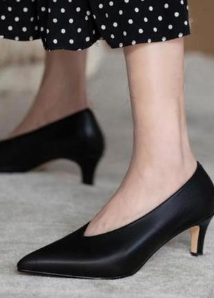 Paul green черные туфли лодочки, кожаные лодочки с v-образным вырезом, классические туфли, винтажные лодочки с красивым вырезом, стелька 25-25,5 см