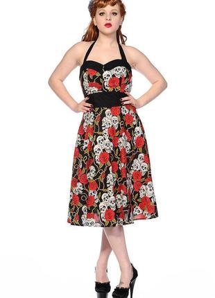 Неформальное платье принт черепа и розы сарафан рокабилли пин ап рок большой размер